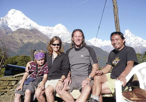 During an earlier visit to Nepal, Gerry Brache, center, with his family, from left, son Merin and wife Merrill, and Chandra Ale, Brache's partner in a venture to bring wilderness first aid and emergency response techniques to the Nepali guides who lead trekking tours in the Himalayas and in the country's jungle lowlands. (Courtesy of Gerry Brache)