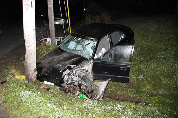 Alex Hatch, 22, of Thomaston was transported to Penobscot Bay Medical Center for facial injuries at 6 a.m. Monday after he crashed his 2002 Hyundai into an electric pole, according to police. State Police said Hatch fell asleep at the wheel and was not wearing a seatbelt. Hatch was charged for operating after suspension and for not wearing a safety belt. His car sustained about $2,000 worth of damage. Rockland EMS and Owls Head Fire Department responded to the scene at Bayside West in Owls Head. (Photo courtesy of Rockland Fire Dept.)