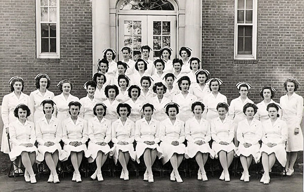 Photo courtesy of Eleanor Sargent   Eastern Maine General Hospital School of Nursing Graduating Class 1946. Eleanor Sargent is second from left in front row.