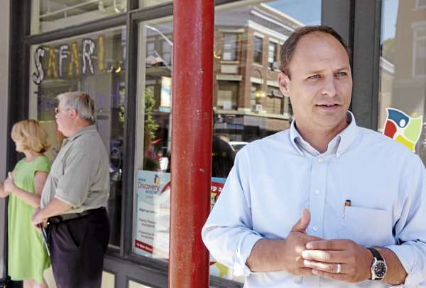 Jason Levesque  (BANGOR DAILY NEWS PHOTO BY BRIDGET BROWN)  CAPTION  Jason Levesque of Auburn who is running for the U.S. Congressional seat in the 2nd district, talks reporters in downtown Bangor on Thursday, Aug. 19, 2010. Levesque was doing a walking tour of area businesses with Senator Olympia Snowe. (Bangor Daily News/Bridget Brown)