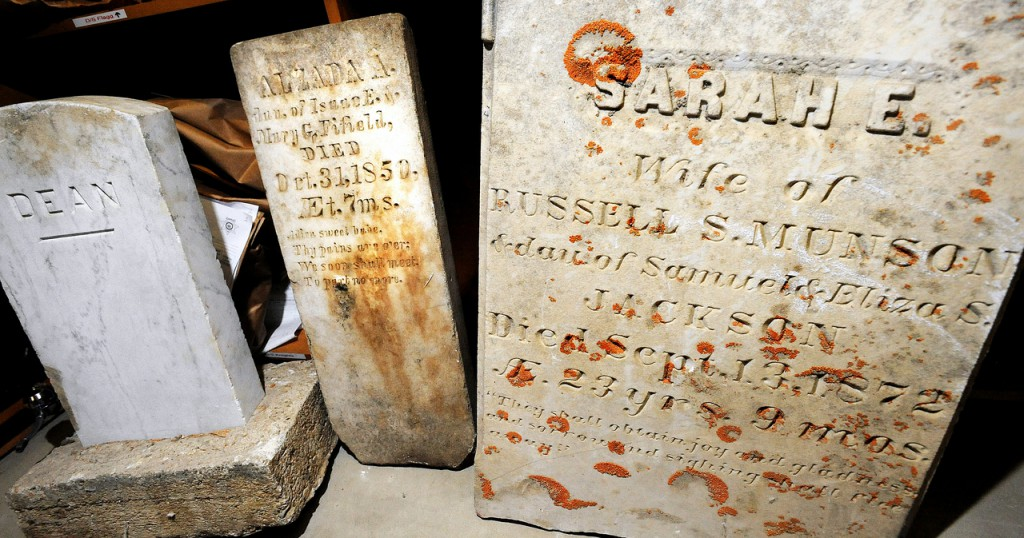 (BANGOR DAILY NEWS PHOTO BY GABOR DEGRE)CAPTIONGrave stones at the Penobscot County Jail.  There is no record of where they came from or how they got there. (Bangor Daily News/Gabor Degre)