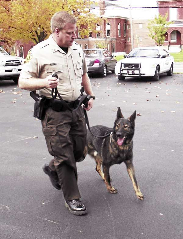 Aroostook County Sheriff's Deputy Mitch Wheeler and his police dog, Maxx, walk outside the Sheriff's Department in Houlton on Wednesday, Oct. 13. The three-year-old Czechoslavakian German Shepherd and Wheeler have been certified as an advanced narcotics team by Law Enforcement Training Specialists International. The canine has been training for the certification since Wheeler acquired him in Sept. 2008. (BANGOR DAILY NEWS PHOTO BY JEN LYNDS)