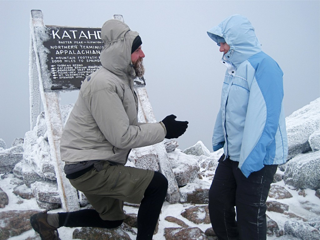 On the summit of Mount Katahdin, Matt Dieschbourg, 28, of Chicago, proposes to his girlfriend of nine years, Sofie Grzenia, 27, of Chicago. Dieschbourg has just completed hiking the Appalachian Trail. Grzenia joined him to hike the final mountain. He holds up a ring that he had crafted from a quartz rock they found together in Laurel Creek in Tennessee when Grzenia joined him to hike for a few miles.