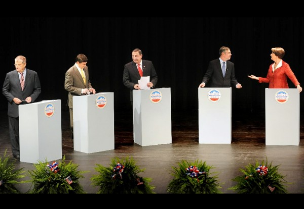 Maine Gubernatorial candidates from left Eliot Cutler Independent, Kevin Scott Independent, Paul LePage Republican, Shawn Moody Independent and Libby Mitchell Democrat during the Bangor Debate at the Bangor High School Monday evening. (Bangor Daily News/Gabor Degre)