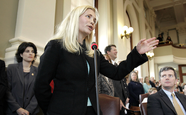 House Majority Leader Rep. Hannah Pingree, D-North Haven, addresses the 123nd Maine Legislature Wednesday, Dec. 6, 2006, in Augusta, Maine. (AP Photo/Robert F. Bukaty)