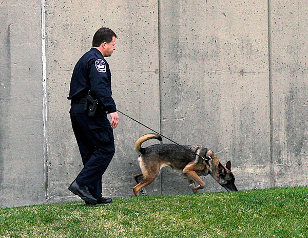 A law enforcement officers searches for evidence along the  I-395 expressway adjacent to the Pentagon, Tuesday, Oct. 19, 2010. The Pentagon entrances were locked down early Tuesday after a report of possible shots fired near the building. (AP Photo/Pablo Martinez Monsivais)