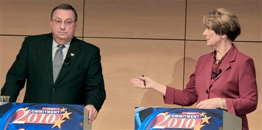 In this Monday, Oct. 18, 2010 photo, gubernatorial candidates debate just 2 weeks before the election. This campaign season has brought a bumper crop of foibles by candidates in this fall's gubernatorial election, as candidates aggressively research their foes in hopes of finding skeletons in closets. At left is Republican Paul LePage, and Democrat Libby Mitchell, right. (AP Photo/Pat Wellenbach)