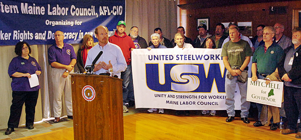 Jack McKay speaks at a gathering of union workers in Brewer Thursday, October 21, 2010 to rail against what he claims is the poor record of gubernatorial candidates Paul Lepage and Elliot Cutler. (Bangor Daily News/Kevin Bennett)