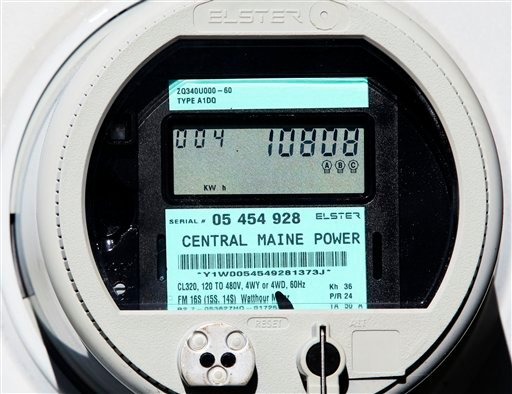 A new Central Maine Power &quotsmart meter&quot displays electricity usage at a business in Freeport, Maine, Thursday, Oct. 14, 2010. Some customers are balking out of health concerns over wireless signals emitted from the meters. (AP Photo/Robert F. Bukaty)