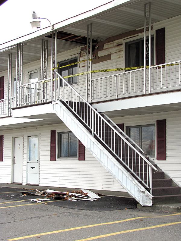 Lovely's Motel in Palmyra was evacuated Friday, Oct. 29, 2010 when an electrical fire broke out in the roof above this two-section portion of the motel. No one was injured.  BANGOR DAILY NEWS PHOTO BY CHRISTOPHER COUSINS