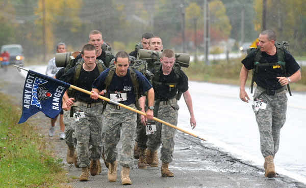 Members of  the University of Maine Army ROTC program were among the participants of the 5K race in Bagor Saturday morning.  Husson University hosted a race and community walks to benefit the Maine Infantry Foundation and the American Heart Association.  Abut 200 people participated in the three walks and the race.