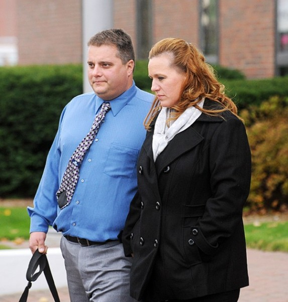 Roger (left) and Lorraine Morin leave the Federal Court House in Bangor after the first day of their trial in Federal Court. The Morins sued Eastern Maine Medical Center after Lorraine was sent home from the hospital to deliver her dead son.