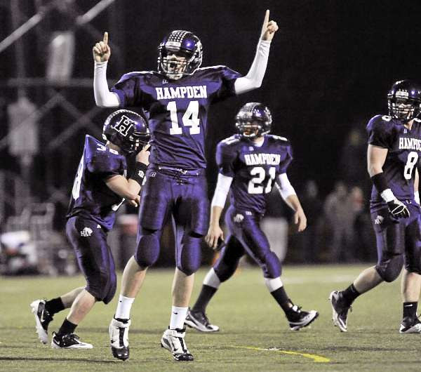 Hampden's Tyler Norris (14) reacts as the Broncos score a field goal in the first half of their game against Gardiner in Hampden, Friday, Nov. 5, 2010. Gardiner won 28-25. Bangor Daily News/Michael C. York