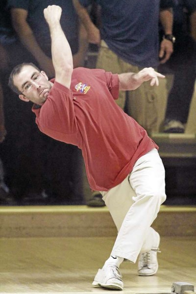 USA East's Shawn Morrison displays championship form in bowling his string during the World Team Candlepin Bowling Tourney on Wednesday afternoon, Nov. 10,  in Brewer, Maine. Bangor Daily News/ Michael C. York