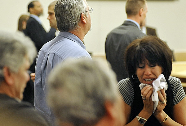 Tammy Cole, right, breaks down after the jury a found Rory Holland guilty Wednesday of the double murder of her two sons Gage Greene, 19, and Derek Greene, 21 in Biddeford on June 30, 2009. (Bangor Daily News/John Clarke Russ)
