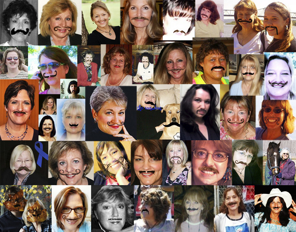 Photo courtesy of Jean Fogelberg   MOmontage: A Facebook montage shows women participating in &quotMovember,&quot an international fundraiser in which men grow mustaches during November to raise awareness for men's health and money for prostate cancer research.  Jean Fogelberg, 54, of Deer Isle created the montage and women's Facebook team as a way for &quotMo Sistas&quot to support &quotMo Bros.&quot
