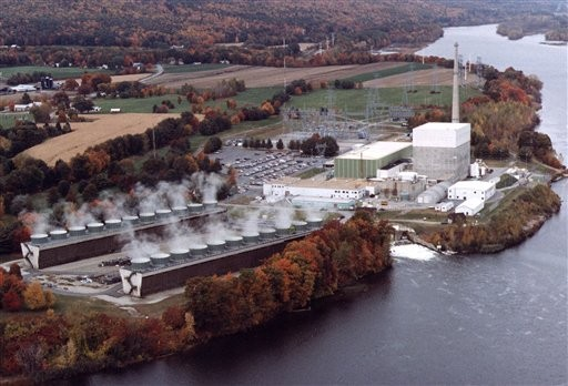 FILE - In this undated file aerial photo provided by Vermont Yankee Corporation, the Vermont Yankee nuclear power plant in Vernon, Vt. is shown. The Vermont Yankee nuclear plant began an unscheduled shutdown Sunday evening, Nov. 7, 2010, so workers could fix a leak where radioactive water was seeping into the complex. (AP Photo/Vermont Yankee Corporation, File) NO SALES