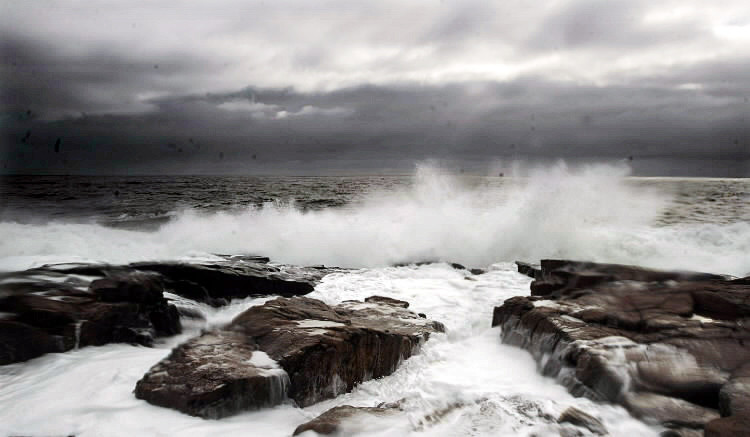 Waves crash onto the rocky shoreline at Schoodic Point in Acadia National Park Monday morning, Nov. 8, 2010.  The storm that knocked out power in many homes in southern Maine produced little more than the wonderful display of waves along the mid-coast. (Bangor Daily News/Gabor Degre)