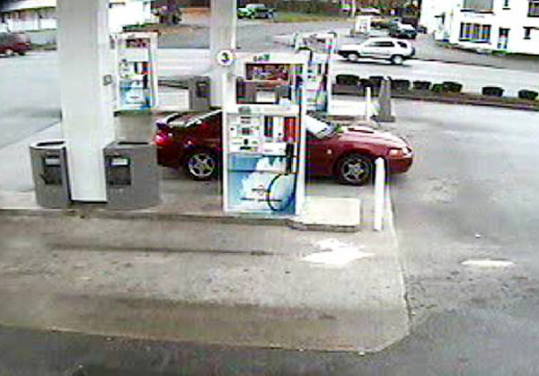 On November 4, 2010, Officer Eric Tourtelotte of the Bangor Police Department responded to the Broadway Irving Store to the report of a theft of a wallet.  The Officer learned that a female who was gassing up her truck, left her wallet on the curb as she attempted to fill up a gas can. When she finished, she walked into the store, forgetting that she left her wallet on the curb. When she returned to her truck, she then noticed that the wallet was missing.   The victim was advised to cancel all of her credit cards and within a few minutes, she called back Officer Tourtelotte and told him that multiple purchases at two local stores had already been attempted for several hundreds of dollars.   The following attached photographs are of the three people and the car they were driving involved in this theft. Anyone with information as to the identity of these people is urged to call the Bangor Police Department and ask to speak with Officer Tourtelotte at 947-7382 extension 95759, or extension 6 if you would like to leave an anonymous message on our Tip Line. (Photo courtesy of Bangor Police Dept.)