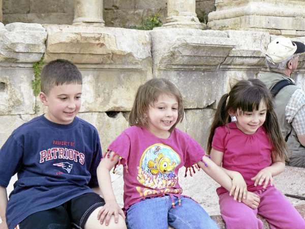 Ahmed, Manar and Sarah.  Goes with Cousins story &quotJordankids&quot Photo courtesy of _____)