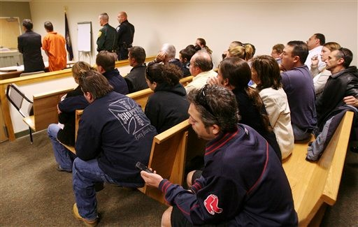 Friends of Christopher Smeltzer, who faces charges he beat his wife to death, fill the courtroom, Wednesday, Nov. 10, 2010, in Candia, N.H. The couple's 4-year-old son was found strangled alongside his mother. Authorities still haven't said who killed the son. Smeltzer's wife, Mara Pappalardo Smeltzer, 39, and son Mason were found Nov. 8 in the couple's home. Smeltzer and the couple's 7-year-old daughter were taken to a hospital for treatment or undisclosed injuries. (AP Photo/Jim Cole)