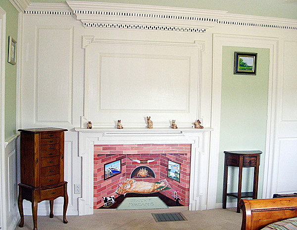 Pearse Farm - Original Parlor now Master Bedroom with faux fireboard & Historic paint colors. (Photo courtesy of Jean Skarratt)