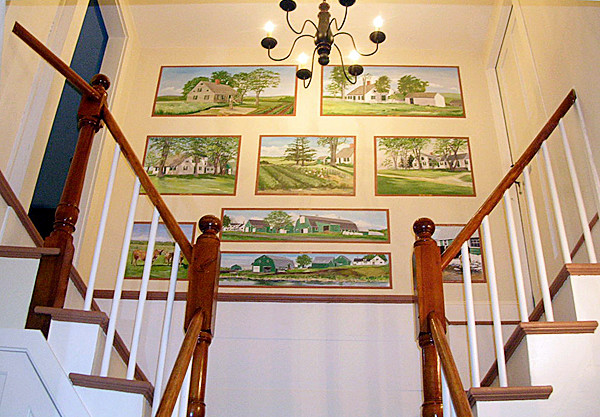 Pearse Farm - Original Farmhouse Entryway - Finished - Storyboard of Farm through the ages --Split stairs leads to 2nd floor bedrooms. (Photo courtesy of Jean Skarratt)