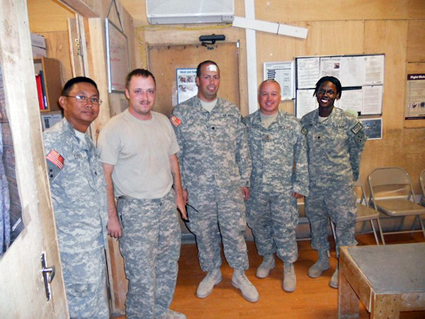 Camp Stone Medics Photo courtesy of Ghost Squadron   2. Sgt. Ryan Hand, second from left and SFC Robert Rushworth, fourth from left with fellow soldiers of the U. S. Army's Troop 7-10th CAV in Herat, Afghanistan.