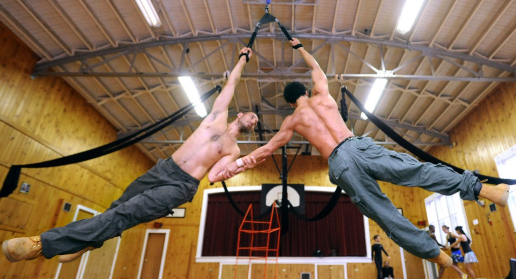 Mark Fucik (left) and Christopher Grant rehearse for the upcoming show by choreography Alison Chase