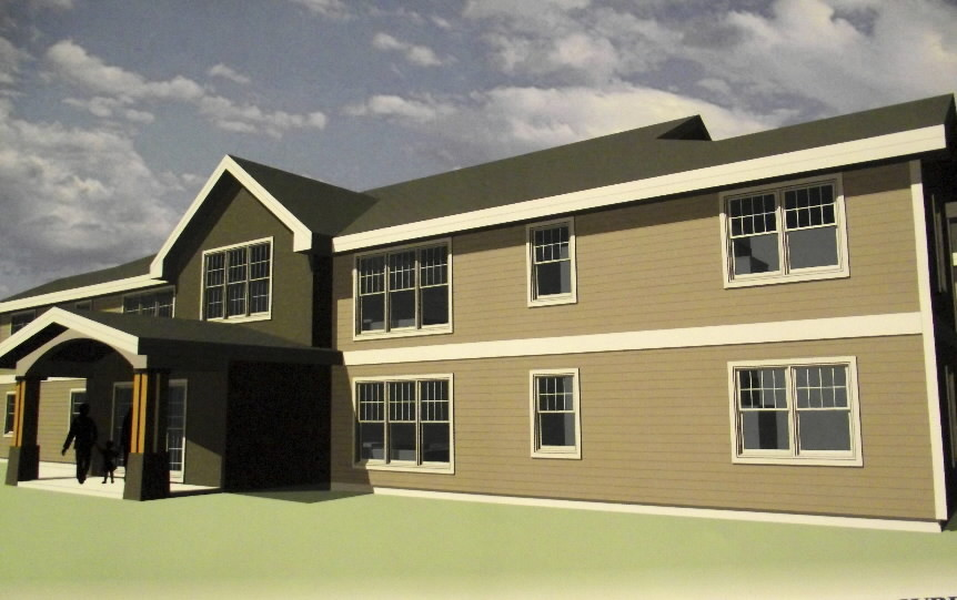 A rendering by WBRC, a Bangor based architecture and engineering firm, shows what a six unit housing complex being constructed on land owned by the Houlton Band of Maliseet Indians will look like when it is completed next year. The complex is the first multi-family housing facility funded by USDA Rural Development on Maliseet land. The new structure is being funded through a $1 million USDA Rural Development multi-family housing loan and a $142,264 contribution by the tribe. (BANGOR DAILY NEWS PHOTO BY JEN LYNDS)