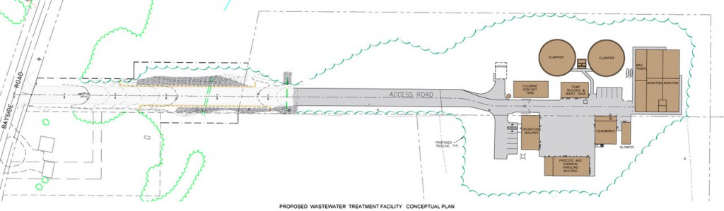 This engineer's drawing shows the layout of the planned waste water treatment plant in Ellsworth located off the Bayside Road. City councilors on Monday awarded a $13.9 million contract to the Penta Corp. to build the plant which is scheduled to be in operation by 2013.