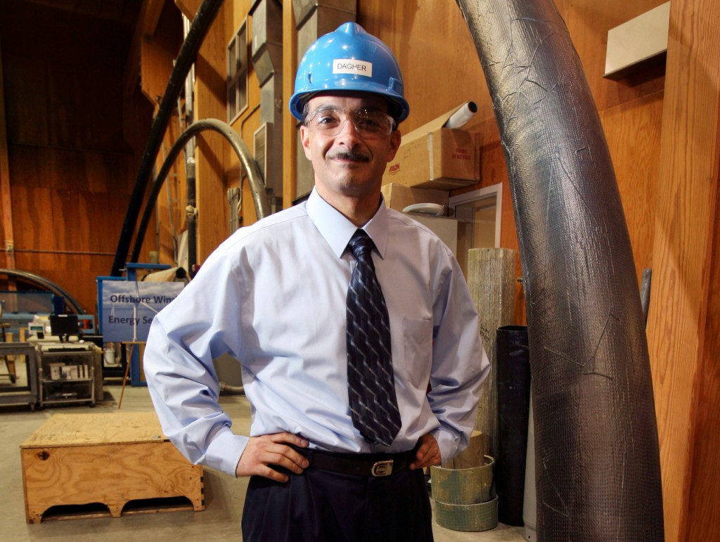 **FILE**In this Oct. 7, 2008 file photo, Habib Dagher, director of the Advanced Engineered Wood Composites Center at the University of Maine, poses at the school's testing laboratory in Orono, Maine.  On Monday, Aug. 17, U.S. Transportation Secretary Ray LaHood will come to Maine for a firsthand look at Dagher's composite shell technology that is used to build small bridges in just one day.  (AP Photo/Robert F. Bukaty, files)