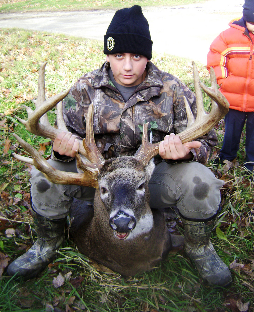 Lucas Clark, 15, of Northport poses with the 20-point deer he shot while hunting in Northport on Nov. 13. (Photo courtesy Lucas Clark) WITH HOLYOKE STORY SLUGGED: WEIRDRACK