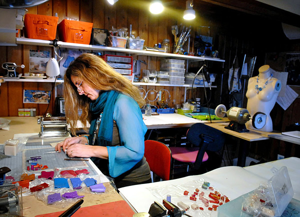 DEDHAM, ME -- NOVEMBER 16, 2010 -- Suzanne Anderson creates colorful, polymer clay jewelry in her Dedham home studio for her business Yikes.  She will have her jewelry for sale at the Art-Full Gifts Art and Craft Event in Northport this weekend. BANGOR DAILY NEWS/LINDA COAN O'KRESIK