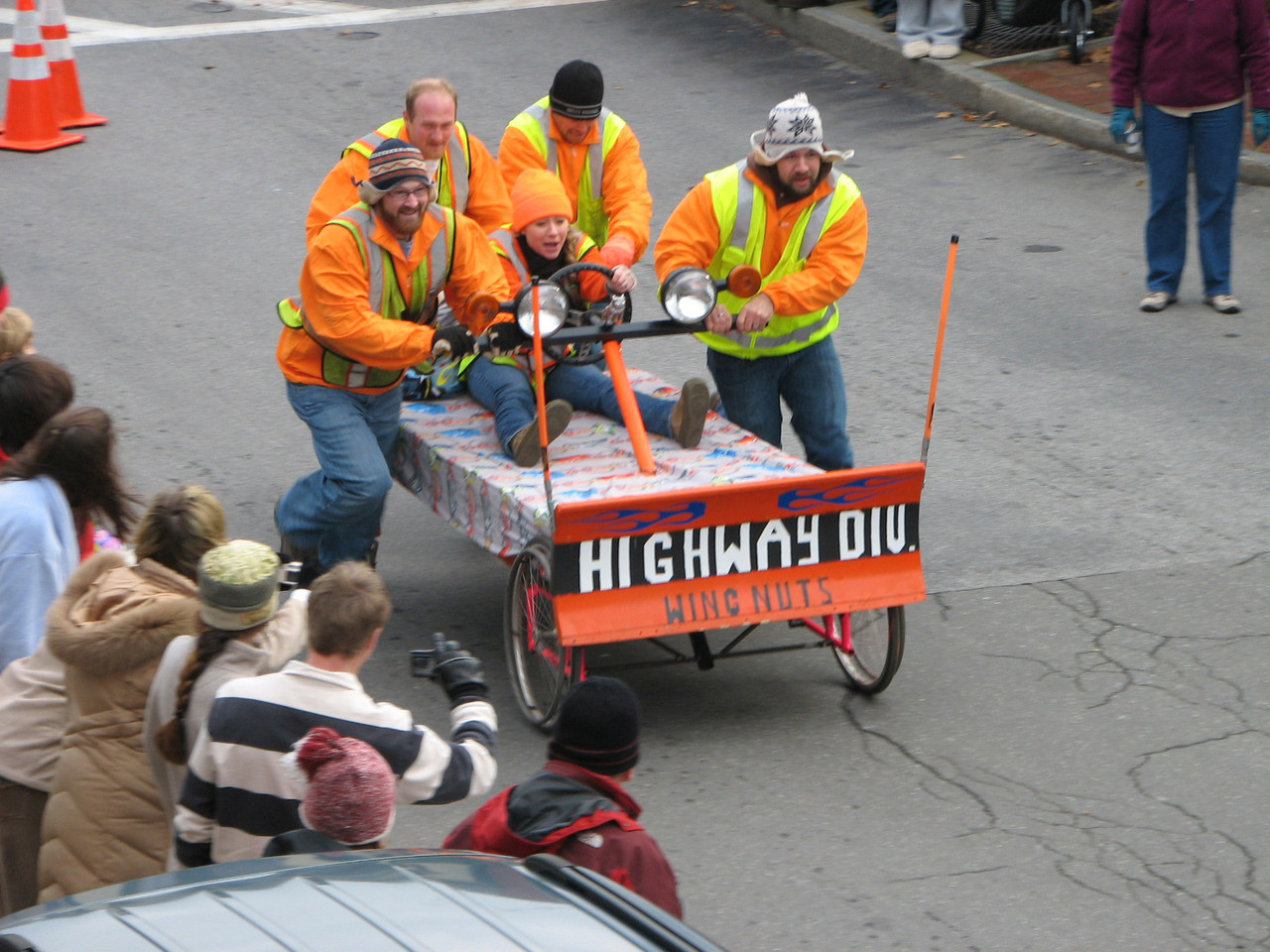 With a small plow mounted on the front, the Bar Harbor Highway Division bed racing team navigates their bed down Cottage Street on Saturday, November 20, 2010  during Bar Harbor's Third Annual Bed Races, which are part of the Bar Harbor Chamber of Commerce's annual Pajama Sale. The team did not finish in first or second place and so did not win a prize at the event. (Bangor Daily News/Bill Trotter)