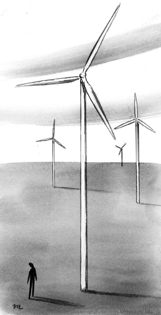 This artwork by Mark Weber relates to wind power.