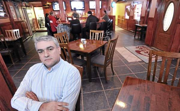 Thomas Shanos the owner of Kosta's Bar & Grill on Main Street in Old Town.  The new restaurant opened last Friday and it will be expanded over the next few months. (Bangor Daily News/ Gabor Degre)