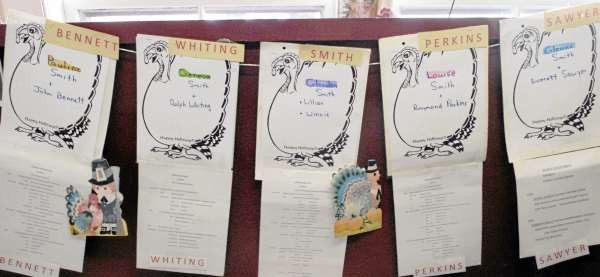 ORRINGTON, ME -- NOVEMBER 25, 2010 -- The branches of the Smith Family tree hang at their Thanksgiving dinner where four generations gather at the First United Mithodist Church in Orrington.  This family gathering, which has carried on for more than 40 years, has gotten so big that it cannot be hosted in a home.   LINDA COAN O'KRESIK