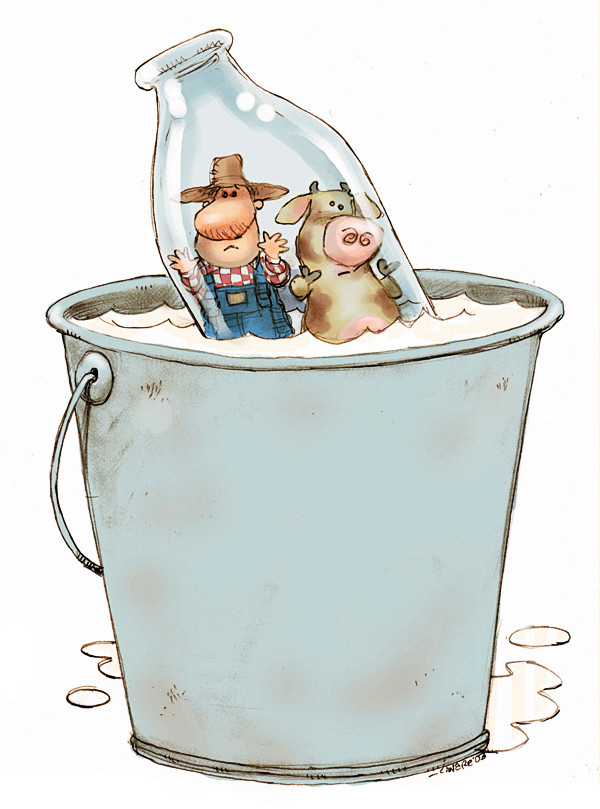 300 dpi 3 col x 7.75 in / 146x197 mm / 497x670 pixels Chris Ware color illustration of a frowning farmer and cow floating in a milk bottle in a giant pail of milk. Lexington Herald Leader 2003