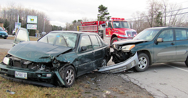 No one was seriously injured in a crash Saturday, November 27, 2010 on Route 1 in Northport that caused extensive damage to two vehicles. Northport Fire Chief Mike Alley said the occupants of the vehicles were lucky they weren't hurt worse. (Bangor Daily News/Christopher Cousins)