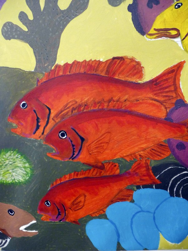 is a detail of the mural, which features the creatures that live in Cobscook and Passamaquoddy Bays, including these three Red Fish, a species only found in the Eastport area of the sea. BANGOR DAILY NEWS PHOTO BY SHARON KILEY MACK