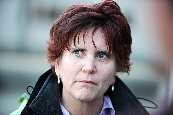 Laurie Batz of Rockland, a friend of Katrina Windred says she prayed in court  on Monday, November 29, 2010 and asked for compassion as Arnold Diana made his first appearance, charged with the murder of Katrina Windred in Knox County Superior Court. (Bangor Daily News/Kevin Bennett)