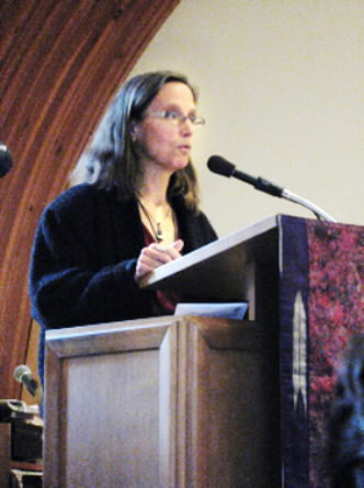 A recent picture of Katrina Windred, 47, of Friendship leading worship at First Universalist Church in Rockland . (Photo courtesy of Elenor Richardson)