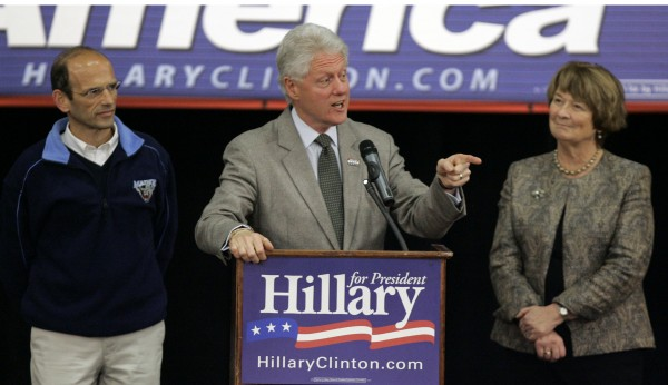 Former President Bill Clinton speaks at a 2008 campaign rally for his wife, Democratic presidential hopeful Sen. Hillary Rodham Clinton, D-N.Y., in Portland. Also present are Maine Gov. John Baldacci (left) and State Sen. Elizabeth Mitchell.