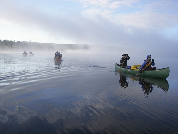 Maine Gov. John  Baldacci, center canoe , and his crew set out for 15 miles of canoeing the Allagash Wilderness Waterway in Sept. 2007. In the front canoe is Conservation Commissioner Patrick McGowan and his daughter Chelsea.