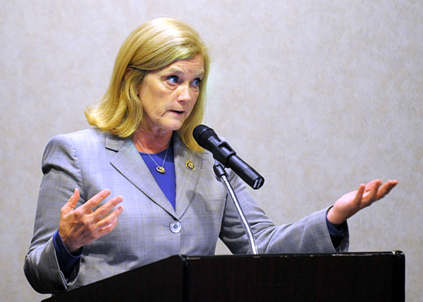 U.S. Representative Chellie Pingree speaks at the United Steel Workers 2010 Fall Convention in Bangor.  Pingree voted against the tax cuts bill that eventually was signed into law, saying she could not support tax cuts for the wealthy.
