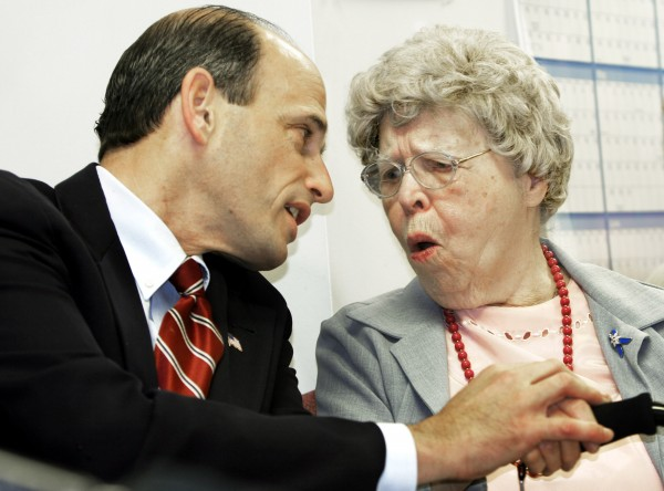 Eleanor Sawyer, 94, reacts to remarks from Maine Gov. John Baldacci during a news conference where a new program outlining the state's plan for people receiving prescription drug benefits was unveiled, in Augusta, Maine, on Nov. 29, 2005.