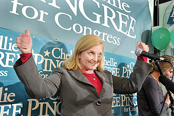 Chellie Pingree shows her elation Tuesday, November 2, 2010, following her opponent Dean Scontras' consession in her reelection bid for Maine's First District Congress seat. Pingree held her returns party at the Porthole, a Portland, Maine, restaurant.