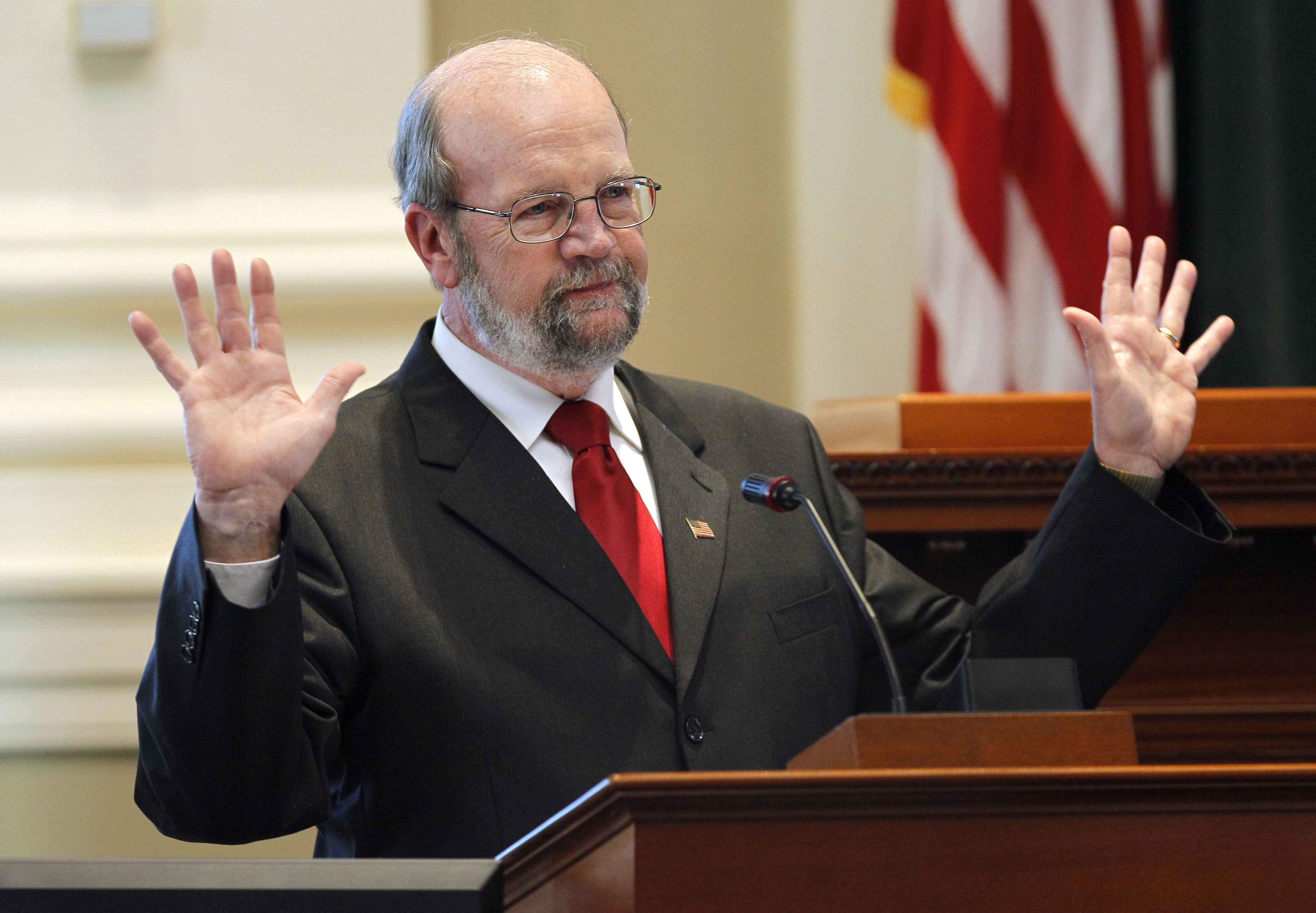 State Rep. Robert Nutting, R-Oakland, acknowledges applause after winning nomination for House speaker during a Republican Caucus on Friday, Nov. 12, 2010, at the State House in Augusta.  Nutting's nomination assures him a position not held by a Republican since the GOP last had a majority in the early 1970s.