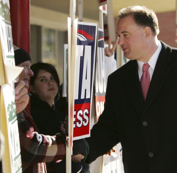 Republican candidate for New Hampshire's 1st Congressional District Frank Guinta greets supporters in Manchester, N.H., Tuesday, Nov. 2,2010.  Guinta unseated Rep. Carol Shea-Porter, D-N.H.